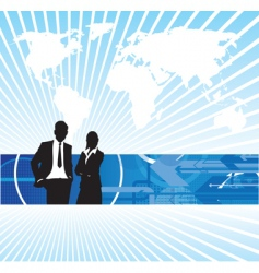 Business people world background vector