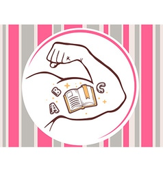 Strong man hand with open book icon on br vector