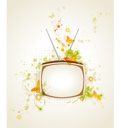 Retro tv and floral vector