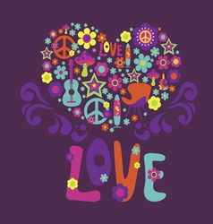 Composition with floral heart love psychedelic vector