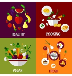 Colored fresh healty food flat design vector