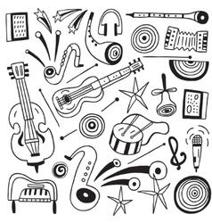 Music instruments doodles vector