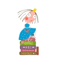 Fairy tale clever princess sitting on stack of vector