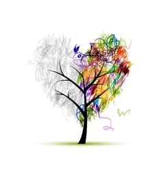 Heart shape tree pencil drawing for your design vector