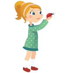 Girl and ladybug vector