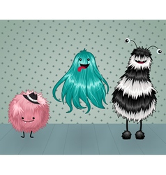 Cute fluffy monsters vector