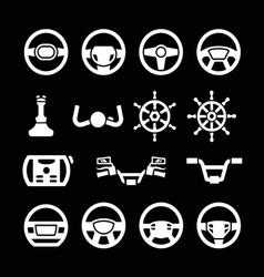Set icons of steering wheel marine steering vector