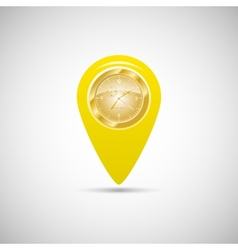 Yellow marker for maps with watch vector