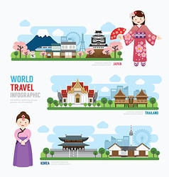 Travel and building asia landmark korea japan thai vector