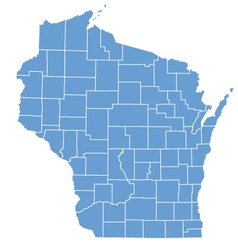 State map of wisconsin by counties vector