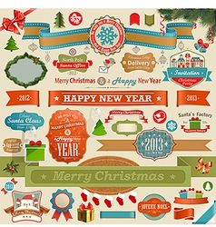 Christmas set - vintage ribbons vector