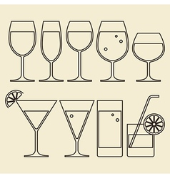 Alcohol wine beer cocktail and water glasses vector