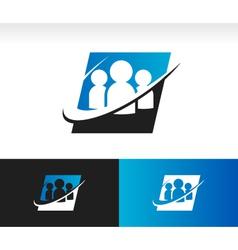Swoosh group people logo icon vector
