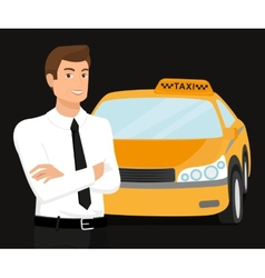 Taxi driver and yellow car behind him vector
