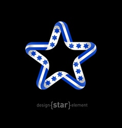 Star with israel flag elements vector