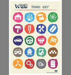 Auto and energy web icons set drawn by chalk vector