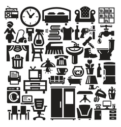 Home furniture and appliances icons vector