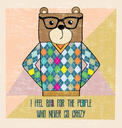 Cool bear hipster hand draw vector