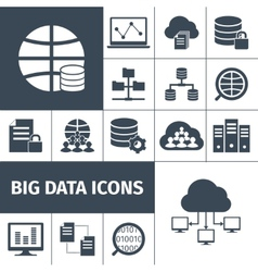 Big data icons black vector