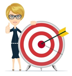 Woman showing victory sign holding a target with vector