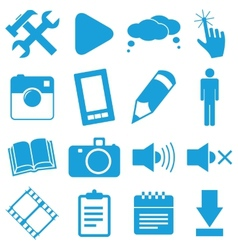 New blue icons set vector