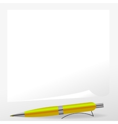 Yellow pen and paper vector