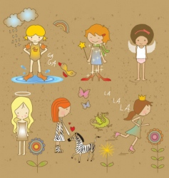 Girls doodles vector