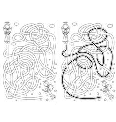 Angel maze vector