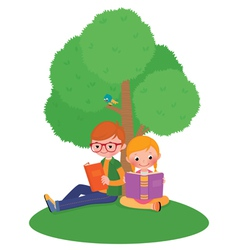 Children outdoors reading a book vector