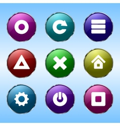 Nine colored buttons for sites vector