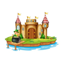 A castle with an old man inside a pot of coins vector
