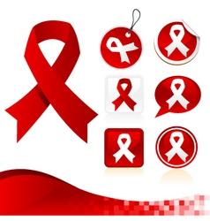 Red awareness ribbons kit vector