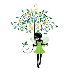 Fairy with floral umbrella vector