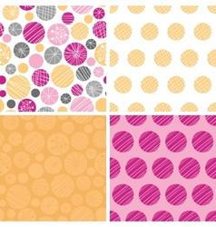 Abstract textured bubbles set of four vector