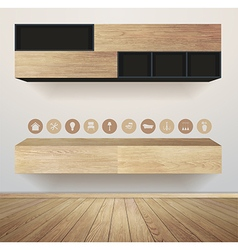 Living room interior with furniture flat icons vector