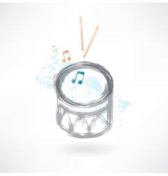 Grey drum grunge icon vector