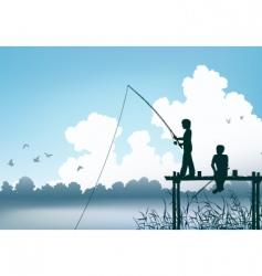 Fishing scene vector