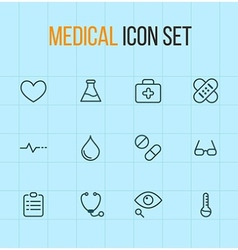 Medical outline icon set vector
