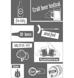Beer craft fest two-color vertical flyer vector