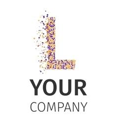 Alphabet particles logotype letter-l vector