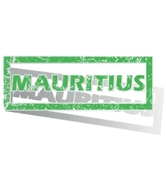Green outlined mauritius stamp vector