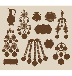 Old jewelery and treasures silhouettes vector