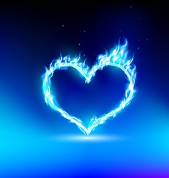 Human heart with a blue light vector