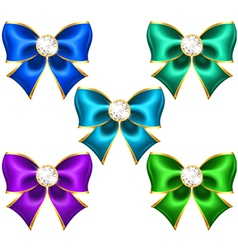 Festive bows with diamonds vector