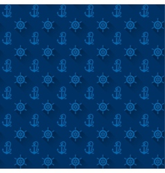 Seamless patterns blue anchors with shadow vector