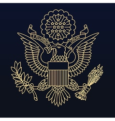 Us passport seal gold on blue vector