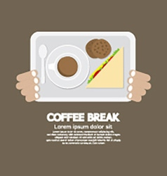 Top view coffee break food and beverage vector