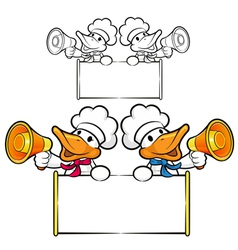 Duck couple characters to promote bird selling vector