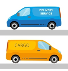 Blue and orange delivery vans isolated vector