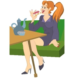 Retro hipster girl sitting on sofa having lunch vector